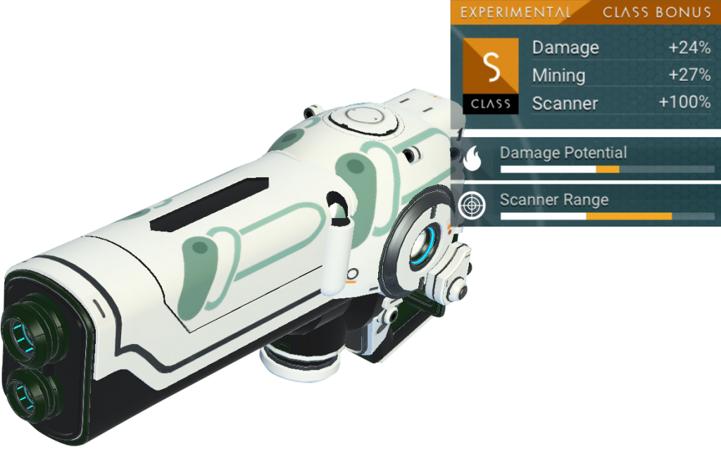 No Man's Sky Experimental Multitool, S Class, White, Mint Green Decal