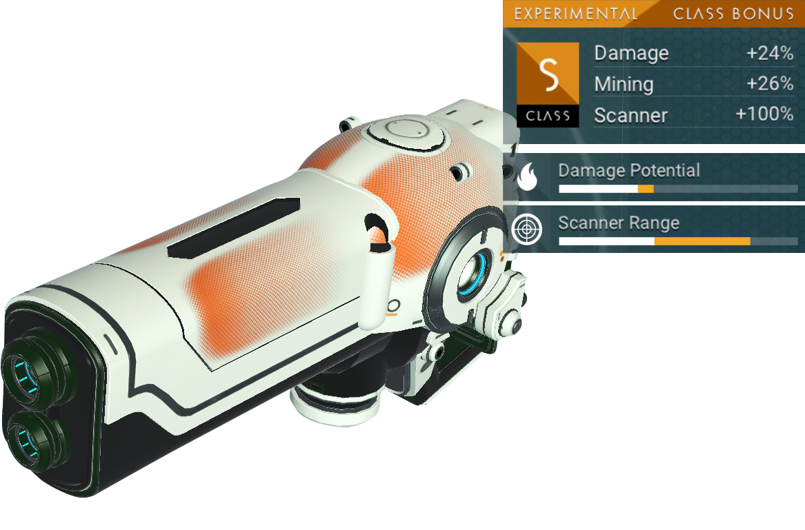 No Man's Sky Experimental Multitool, S Class, White, Red Orange, Black