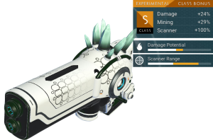 No Man's Sky Experimental Multitool, S Class, White, Black, Pale Green Crystal