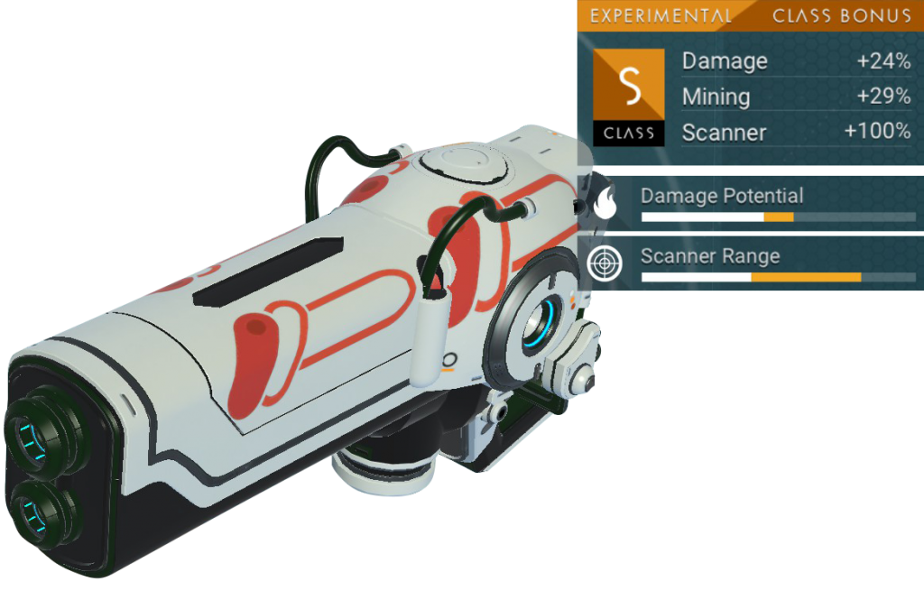 No Man's Sky Experimental Multitool, S Class, White, Red, Black, Decal