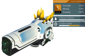 No Man's Sky Experimental Multitool, S Class, White, Blue, Yellow Crystal