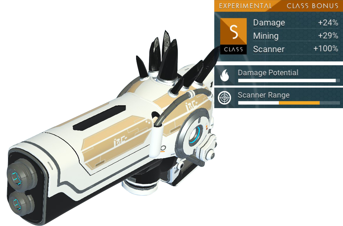 No Man's Sky Experimental Multitool, S Class, White, Tan, Black Crystal
