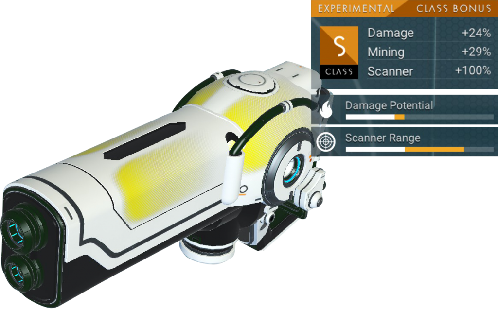 No Man's Sky Experimental Multitool, S Class, White, Yellow, Pipes, Black