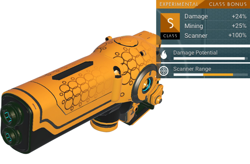 No Man's Sky Experimental Multitool, S Class, Gold, Yellow, Black, Decal
