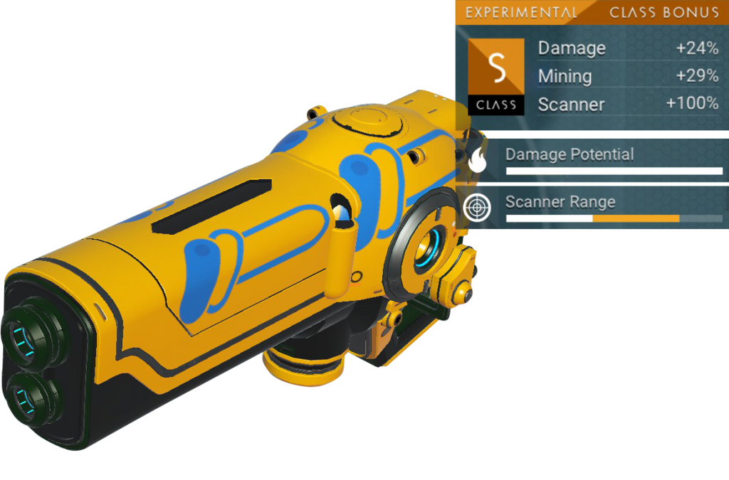 No Man's Sky Experimental Multitool, S Class, Yellow, Black and Blue